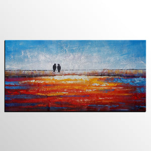 Love Birds Painting, Abstract Painting, Canvas Painting, Original Painting