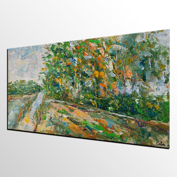 Landscape Painting, AutumnTree Painting, Bedroom Wall Art, Canvas Art, Wall Art, Original Artwork, Ready to Hang