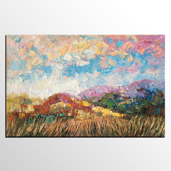 Heavy Texture Oil Painting, Mountain Landscape Painting, Original Painting, Large Artwork, Canvas Art, Wall Art, Original Artwork-artworkcanvas
