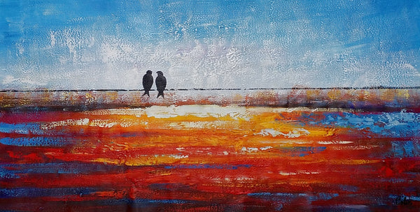 Love Birds Painting, Abstract Painting, Canvas Painting, Original Painting - artworkcanvas