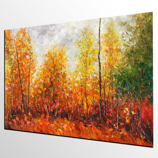 Canvas Art Painting, Autumn Tree Landscape Painting, Large Wall Art, Oil Painting, Art on Canvas, Original Artwork - artworkcanvas