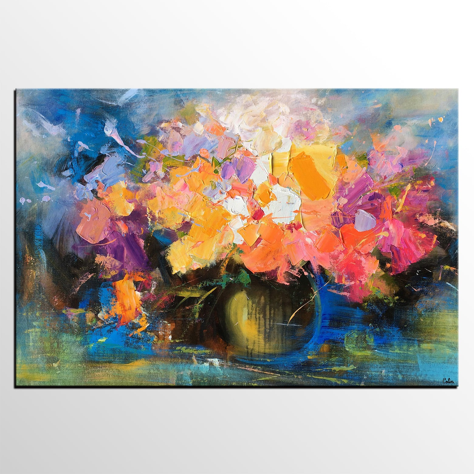 Flower Canvas Painting, Original Wall Art, Still Life Painting, Large Canvas Artwork, Painting for Sale - artworkcanvas