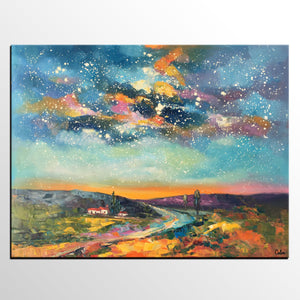 Canvas Wall Art, Abstract Landscape Art, Starry Night Sky, Bedroom Wall Art, Custom Abstract Art Painting, Oil Painting - artworkcanvas
