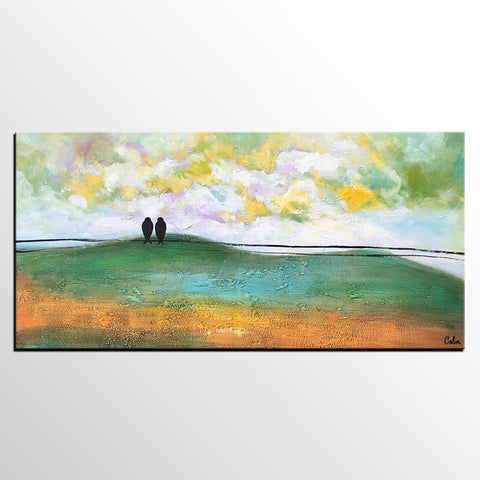 Abstract Art, Canvas Painting, Wedding Gift, Love Birds Painting, Art Painting - artworkcanvas