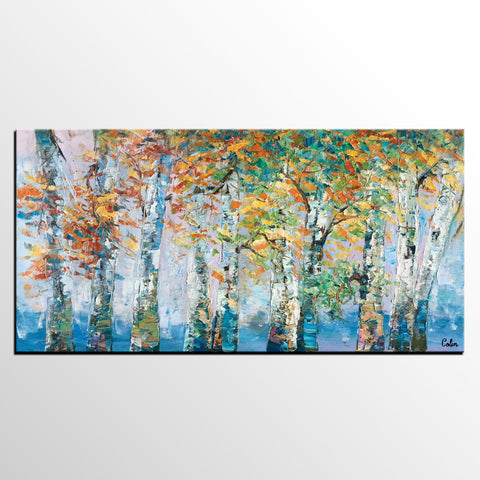 Abstract Painting, Canvas Wall Art, Birch Tree Landscape Wall Art, Canvas Painting, Original Painting