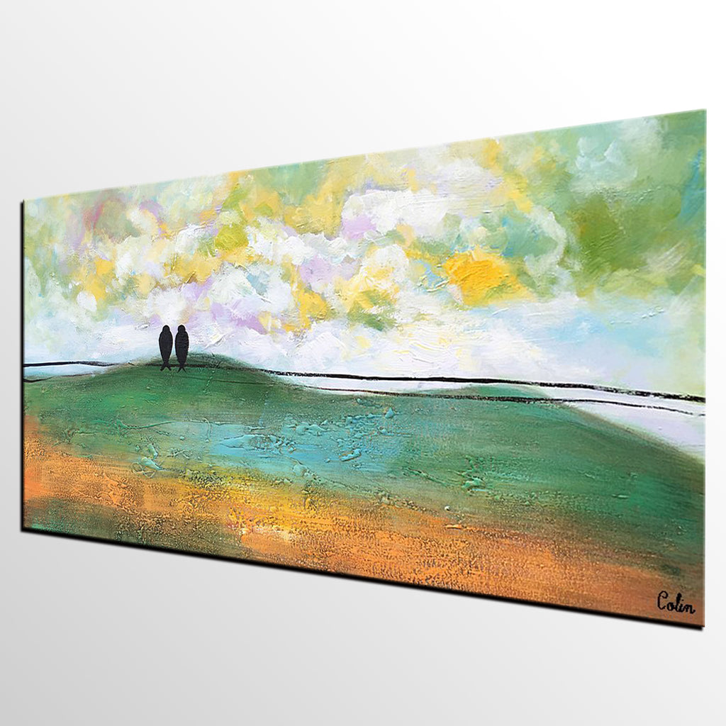 Abstract Art Canvas Painting Wedding Gift Love Birds Painting