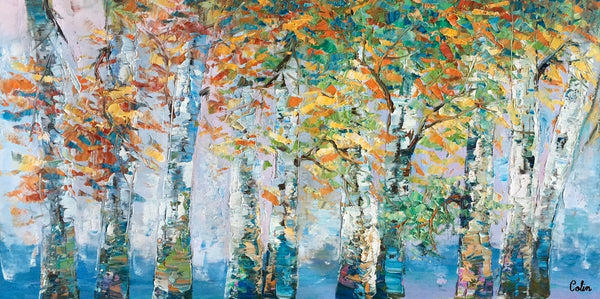 Abstract Painting, Birch Tree Landscape Wall Art, Custom Canvas Painting, Original Painting - artworkcanvas