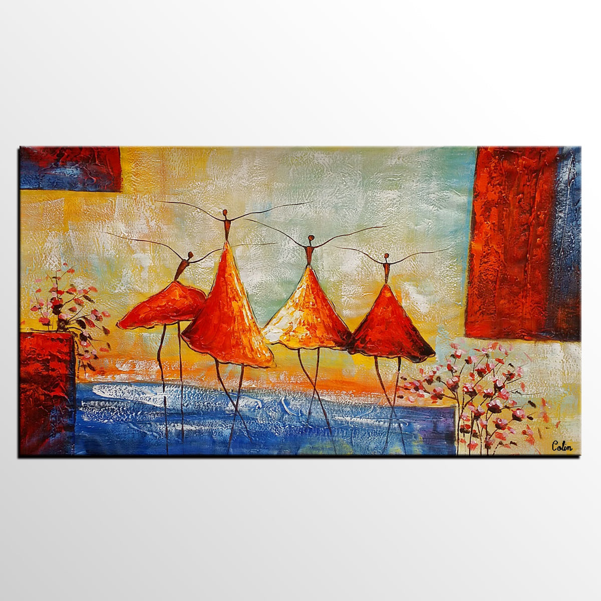 Abstract Painting, Ballet Dancer Painting, Acrylic Painting, Bedroom Canvas Art, Canvas Painting