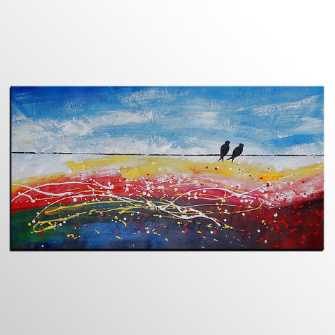 Abstract Painting Love, Abstract Art Love, Love Birds Painting, Original Art Painting, Bedroom Wall Art, Canvas Art - artworkcanvas