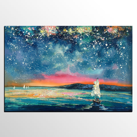 Abstract Art, Sail Boat under Starry Night Sky Painting, Canvas Wall Art, Custom Landscape Wall Art, Original Painting - artworkcanvas