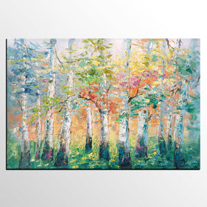 Abstract Landscape Painting, Spring Tree Landscape Painting, Abstract Art, Heavy Texture Wall Art-artworkcanvas
