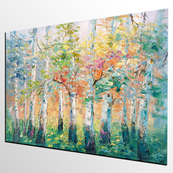 Abstract Landscape Painting, Spring Tree Landscape Painting, Abstract Art, Heavy Texture Wall Art - artworkcanvas