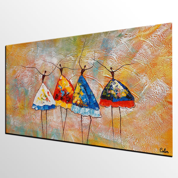 Acrylic Art Painting, Wall Art for Bedroom, Ballet Dancer Painting, Abstract Painting, Bedroom Canvas Art - artworkcanvas