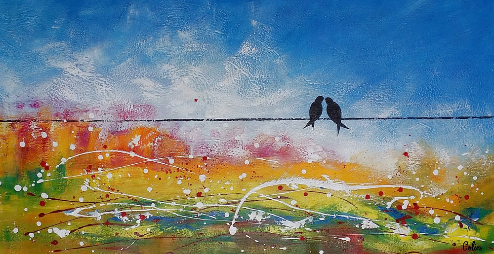 Large Painting Love Birds Art Wedding Gift Original Wall Art Large Art Canvas Art Wall Art Original Artwork Home Art 395