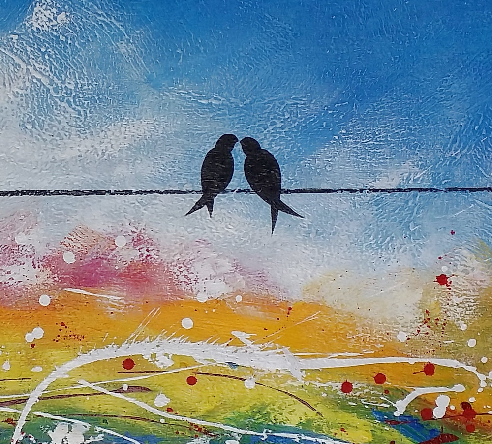 Large Painting Love Birds Art Wedding Gift Original Wall Art Large