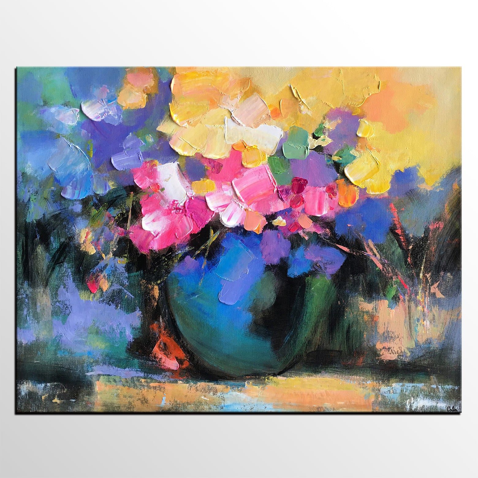 Abstract Art Painting, Flower in Vase Painting, Original Painting, Large Wall Art, Canvas Painting - artworkcanvas