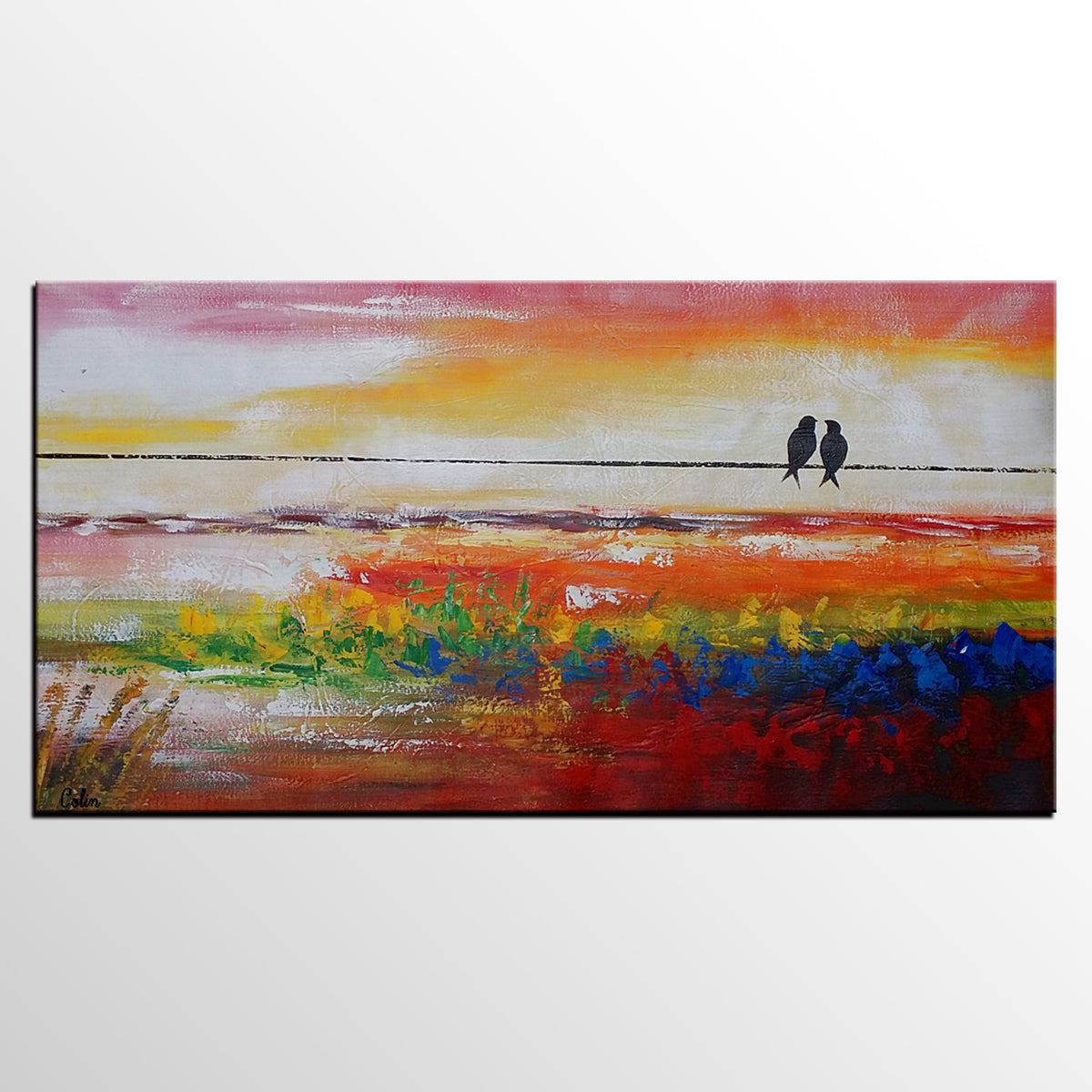 Wall Art, Living Room Wall Art, Canvas Art, Original Art, Love Birds Painting, Abstract Painting, Abstract Art, Canvas Painting, 435 - artworkcanvas