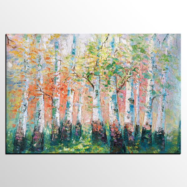 Landscape Painting, Spring Forest Painting, Bedroom Wall Art, Original Artwork, Tree Painting