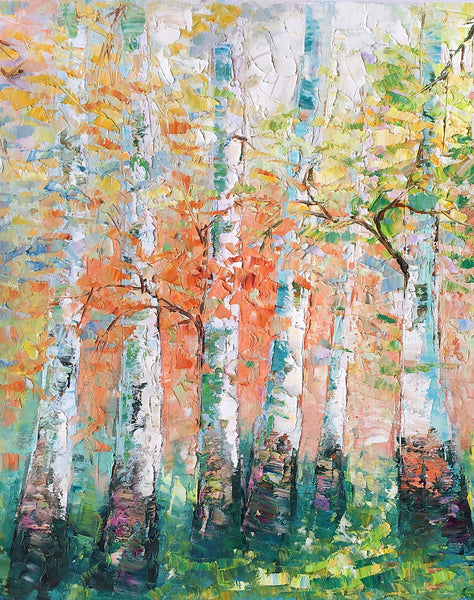 Landscape Painting, Spring Forest Painting, Bedroom Wall Art, Original Artwork, Tree Painting - artworkcanvas