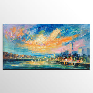 Abstract Cityscape Art, Abstract Canvas Art, Impasto Artwork, Canvas Painting, Custom Extra Large Painting - artworkcanvas