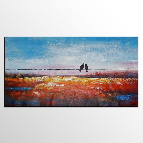 Canvas Wall Art, Love Birds Painting, Canvas Wall Art, Original Painting, Wedding Gift - artworkcanvas