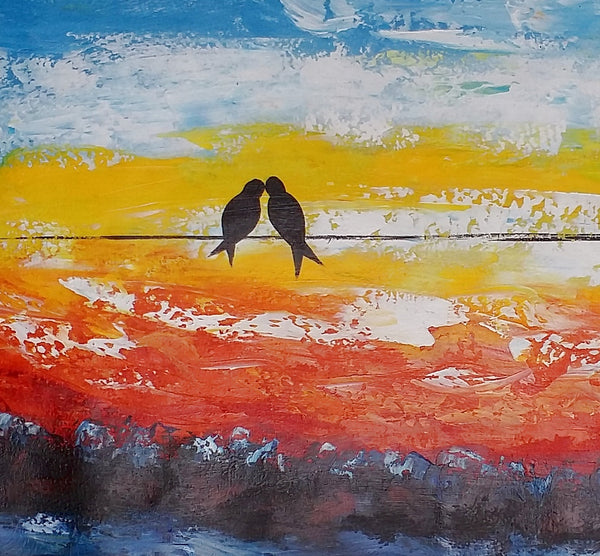 Love Birds Painting, Original Art, Abstract Wall Art, Abstract Art, Canvas Painting
