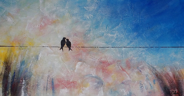 Wall Art, Love Birds Painting, Canvas Art, Original Art, Abstract Wall Art, Abstract Painting, Abstract Art, Canvas Painting, 433