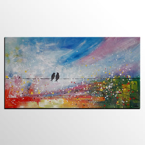 Original Artwork, Abstract Painting Love, Love Birds Painting, Canvas Painting