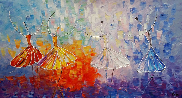 Dancing Painting, Acrylic Painting, Ballet Dancer Painting, Bedroom Canvas Art