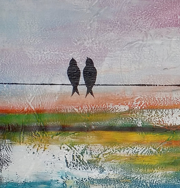 Abstract Painting, Wall Art, Love Birds Painting, Home Art, Bedroom Wall Art, Canvas Art, Canvas Art, Abstract Art - artworkcanvas