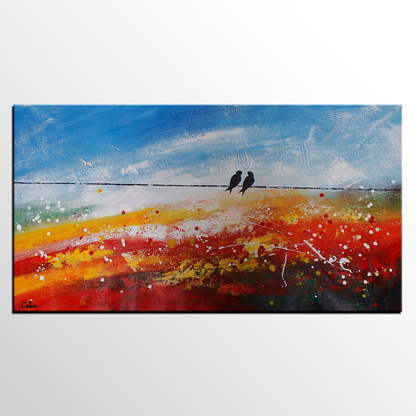 Love Birds Painting, Abstract Painting Love, Kitchen Canvas Painting, Original Painting