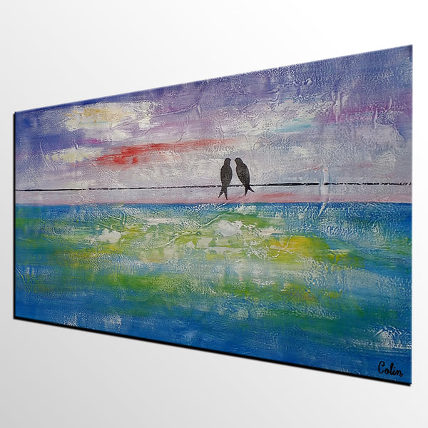 Canvas Wall Art, Original Painting, Abstract Art, Love Birds Painting, Abstract Painting, Canvas Art, Wall Art, Original Painting, 446