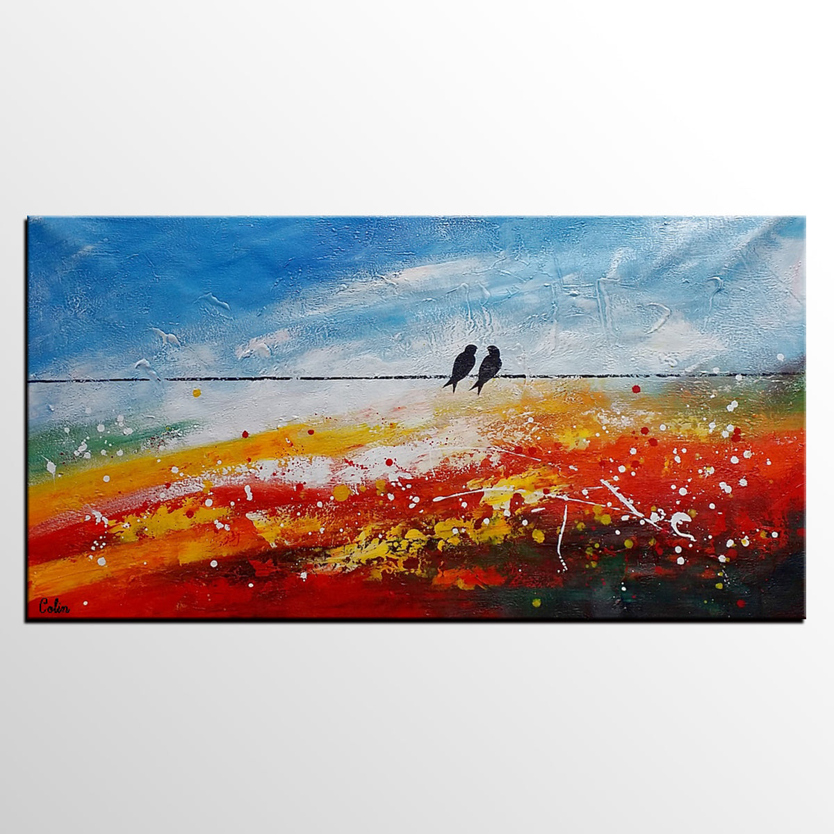 Canvas Art, Abstract Art, Love Birds Painting, Canvas Painting, Bedroom Wall Art - artworkcanvas