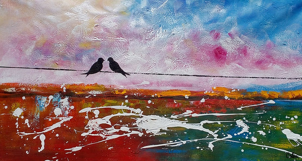 Canvas Art, Love Birds Painting, Abstract Painting, Canvas Art, Wall Art