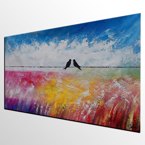 Home Art, Bedroom Wall Art, Canvas Art, Love Birds Painting, Abstract Painting, Abstract Art, Canvas Art, Wall Art, 415