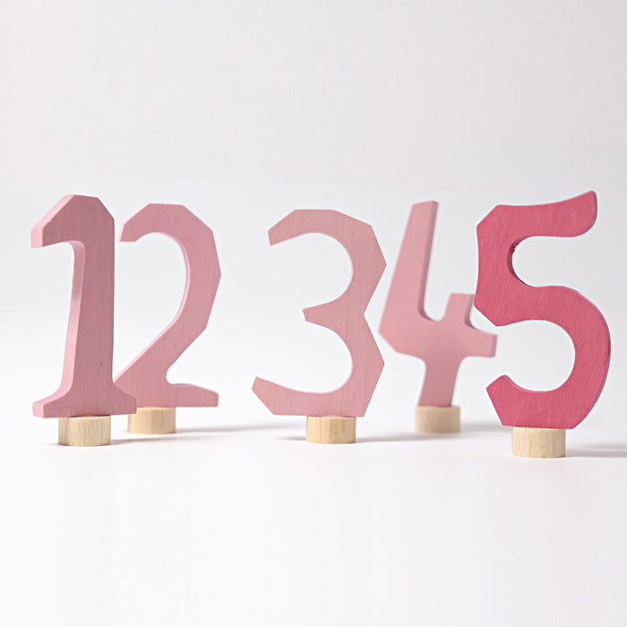 04401 Grimm's Decorative Numbers Set 1-5 Pink