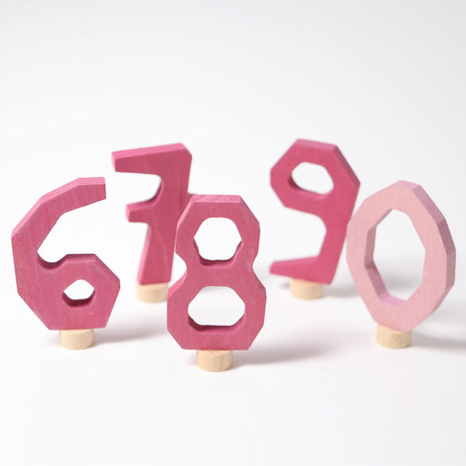 04402 Grimm's Decorative Numbers Set 6 7 8 9 0 Pink
