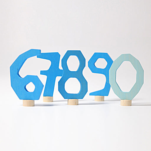 04404 Grimm's Decorative Numbers Set 6 7 8 9 0 Blue