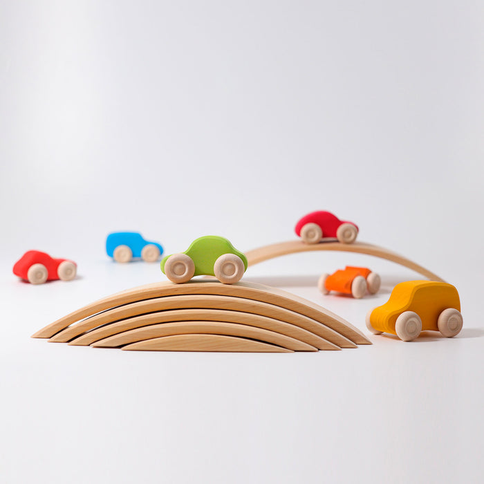 09310 Grimms Colored Wooden Car Set 6 pieces
