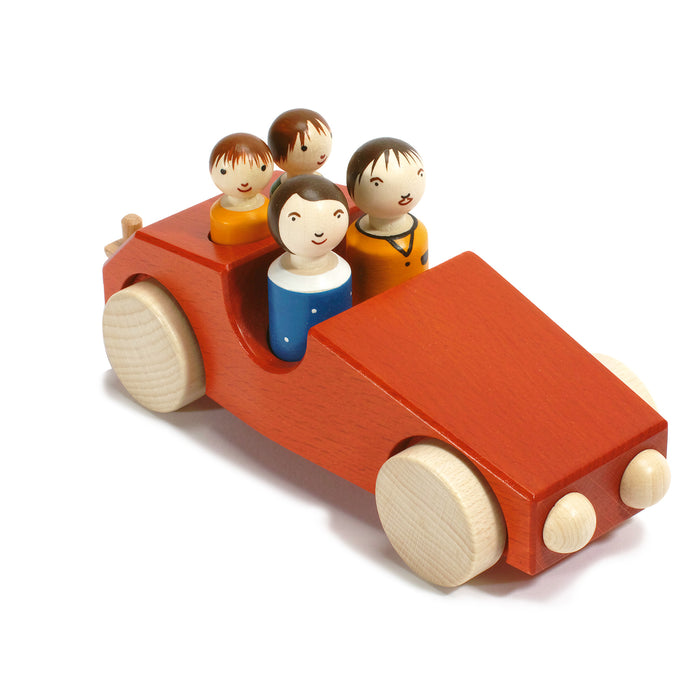 10030.1 Weizenkorn Wooden 4 Passenger Car With Tow Bar Red