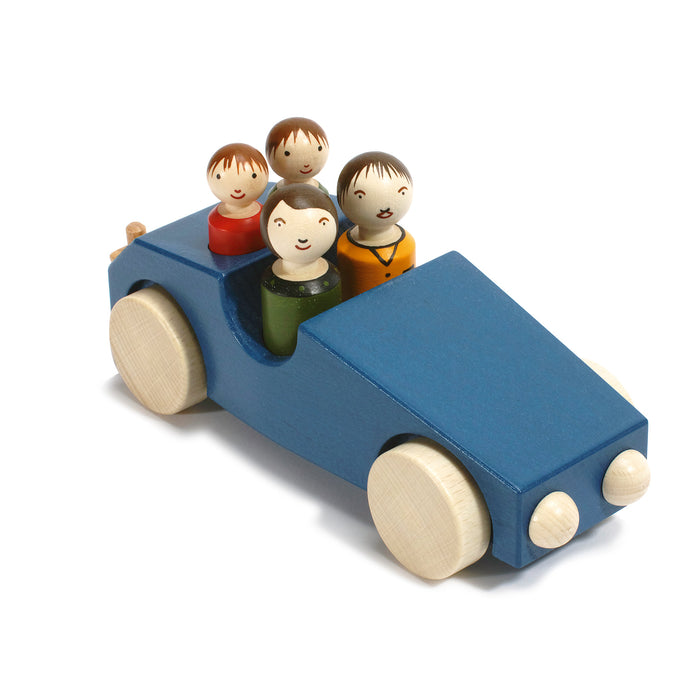 10030.3 Weizenkorn Wooden 4 Passenger Car With Tow Bar Blue