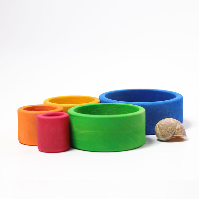 10350 Grimms Colored Stacking Bowls outside blue