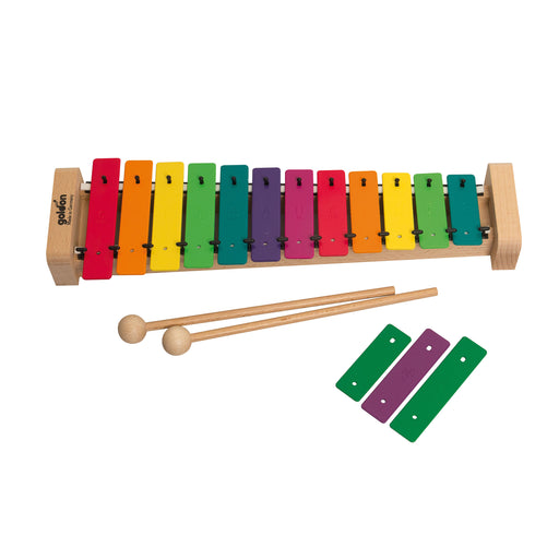 11038 Goldon Metallophon Sopran 12 coloured Soundplates with Boomwhackers Colours