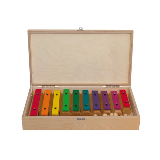 11607 Goldon Chime Bars Aluminium with Boomwhackers Colours set of 10 in wooden box