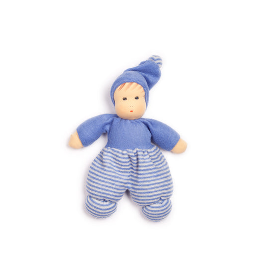 163444 Nanchen Natur Mini Mopschen Doll Blue Stripe