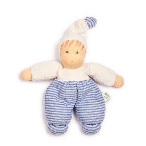 169444 Nanchen Natur Mopschen Doll Blue Stripe