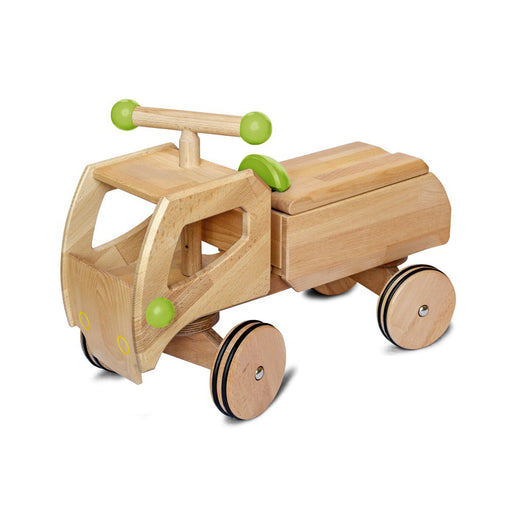 180039 Dynamiko Wooden Ride On Toy Car Transporter Fred Green