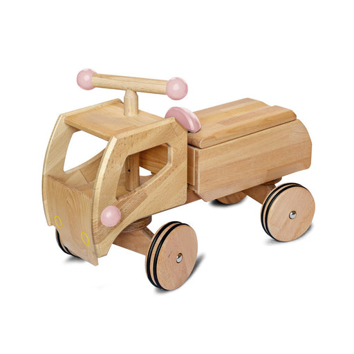 180060 Dynamiko Wooden Ride On Toy Car Transporter Fred Pink
