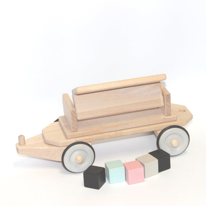 180152 Dynamiko Wooden Train Hopper Carriage with Blocks
