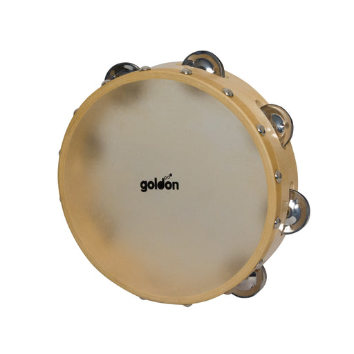 35325 Goldon Tambourine with Natural Skin 7 Jingles